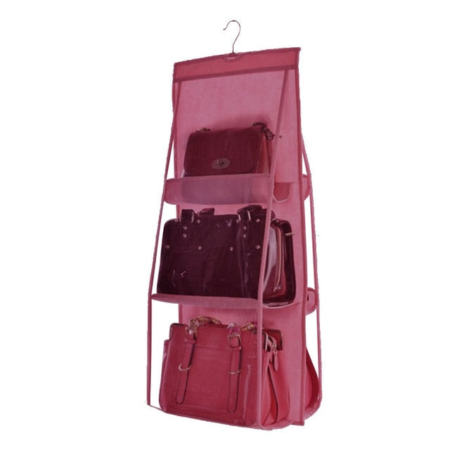 6 Layer Hanging Bag Organizer Wardrobe Storage Bag for Handbags Wall Sundries Pouch Shoes Organizer - fashionshoeshouse