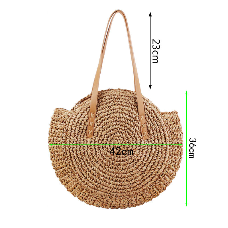 Woven Round Woman's Shoulder Bag Bohemian Summer Straw Beach Bag - fashionshoeshouse
