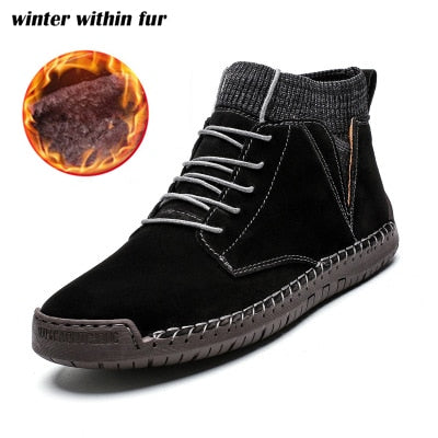 Mens fur lining winter shoes casual ankle boots suede retro lace-up boots