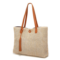 Soft Casual Summer Handbags Beach Straw Tote Bags Large Capacity - fashionshoeshouse