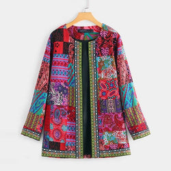 Women's boho ethnic printed cardigan patchwork pockets jacket