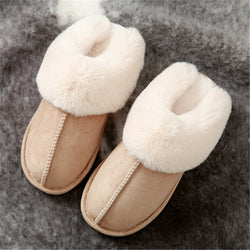 Furry warm winter slippers women's shearling slippers closed toe