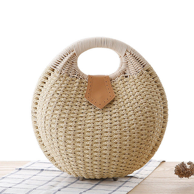 Summer Beach Bag Shell Shaped Women's Fashion Handbags Straw Bag For Ladies - fashionshoeshouse