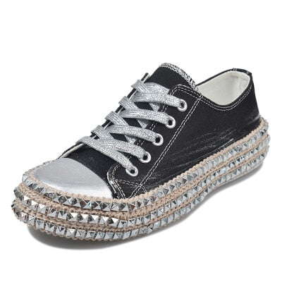 Women's fashion studded sneakers casual canveas shoes for women