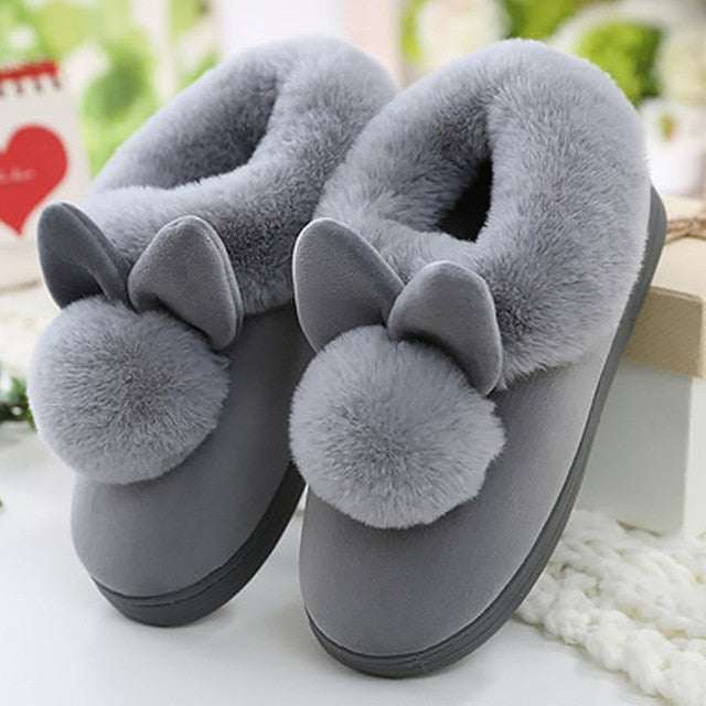 Women's furry warm house slippers cute bunny slippers for girls indoor bedroom slippers