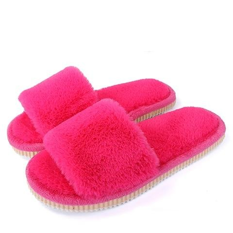 Womens furry slippers winter warm house shoes