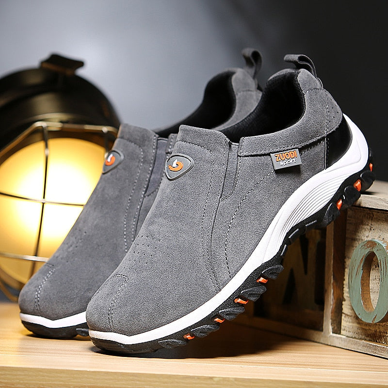 Mens suede casual loafers slip on driving shoes all season walking shoes