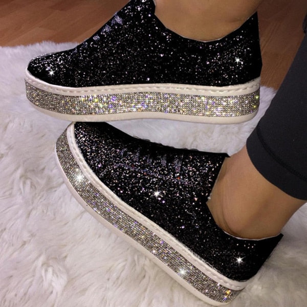 Women's glitter sneakers lace-up rhinestone shiny casual shoes platform sneakers