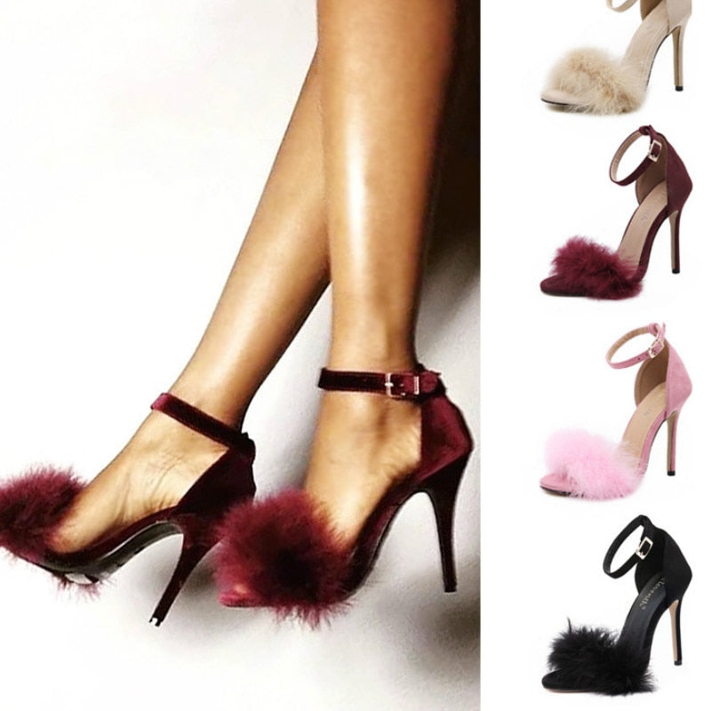 Fuzzy Heels Sexy Open Toe Buckle Strap High Heels Wedding Party Shoes Thin Heels