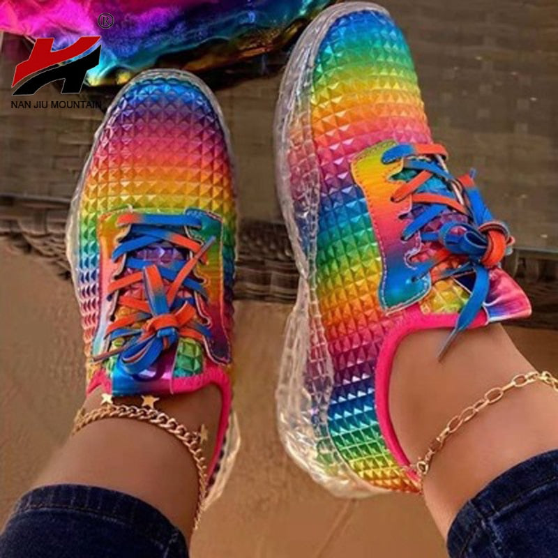 Rainbow colorful sneakers for women casual shoes comfy running shoes