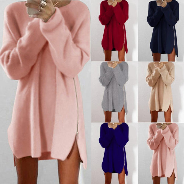 Women's sweater dress with zipper soose sweater dress for fall/winter