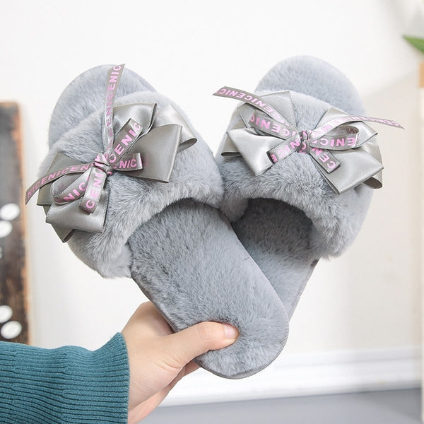 Women's furry warm home slippers with cute bowknots winter house shoes