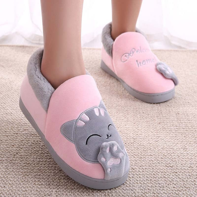 Cute cat slippers push warm winter house shoes