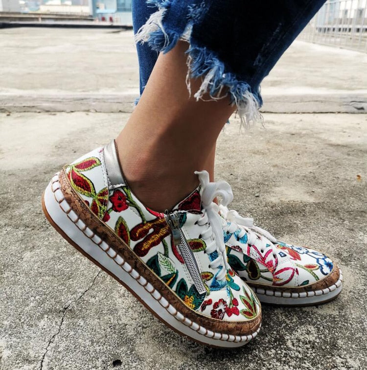 Women's fashion floral print sneakers summer platform sneakers casual shoes