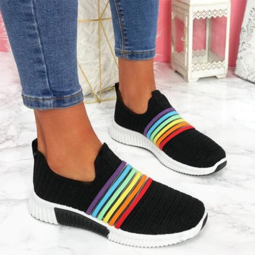 Mesh breathable slip on women sneakers rainbow patterned running shoes