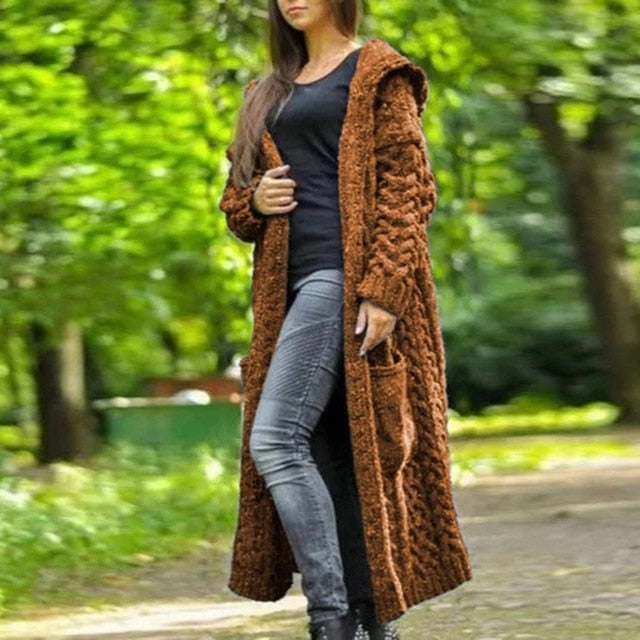 Womens's canble knit hooded long cardigan sweater open front chunky cardigan for winter