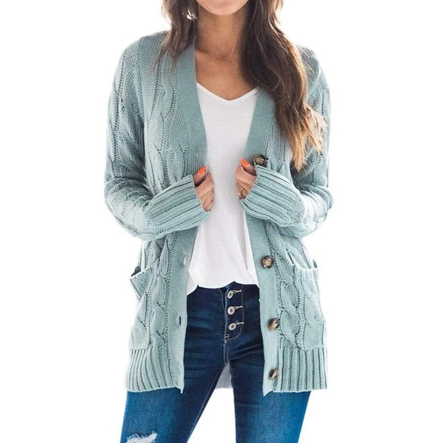 Women's solid color button cardigan cable knit cardigan for fall/winter