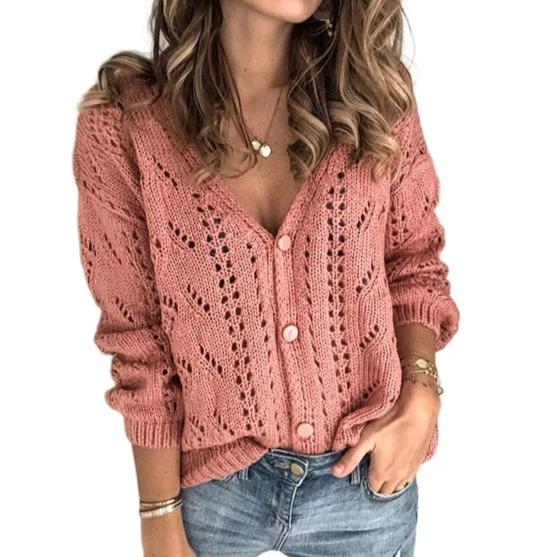 Women's v-neck hollow knit sweater long sleeve casual pullover sweater