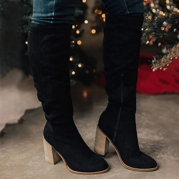 Women's knee high zipper boots chunky heel round toe fall/winter boots