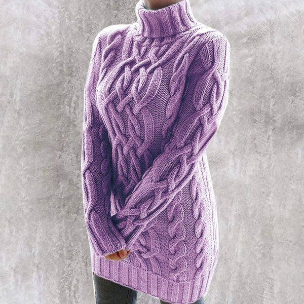 Women's cable knit turtleneck sweater dress sexy twist long sleeve knitted pullovers