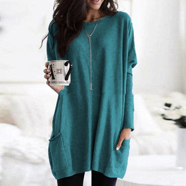 Women's long sleeve pockets tunic T-shirts casual loose crewneck pullovers