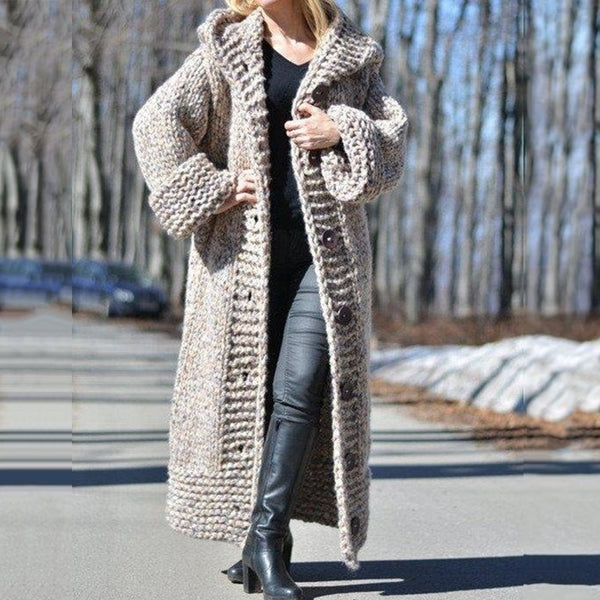 Women's chunky knitted cardigan sweater with button hooded oversized duster cardigan coat