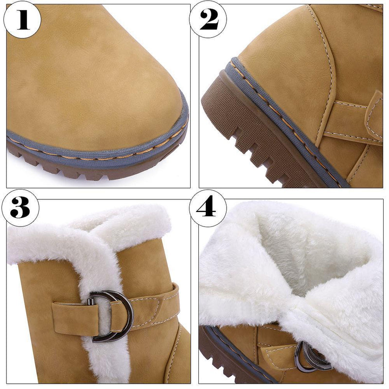 Buckle Strap Fur Lined Ankle Boots for Women - fashionshoeshouse
