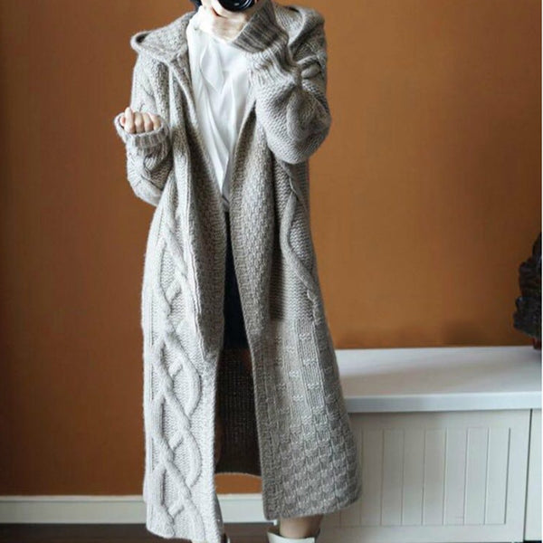 Women's cable knit hooded chunky cardigan open front long cardigan sweater