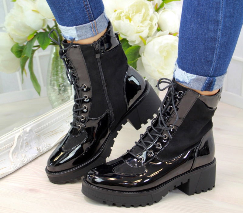 Women's black lace-up ankle boots snakeskin pattern chunky boots