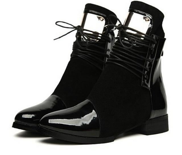 Lace Up Bling Martin Ankle Boots - fashionshoeshouse
