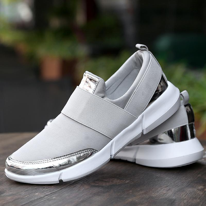 Breathable Slip-on Silver Loafers for Women Flat Driving Shoes - fashionshoeshouse
