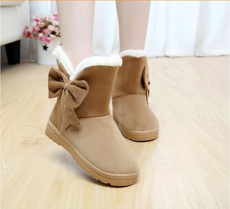Cute Bowknot Fur Snow Boots for Women Winter Warm Flats - fashionshoeshouse
