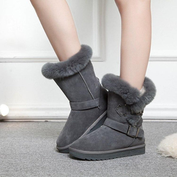 Mid-Calf Plush Warm Winter Boots Buckle Strap Snow Boots - fashionshoeshouse