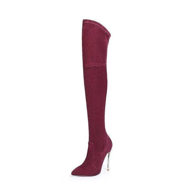 Slim Thigh High Boots for Women Black Heeled Boots - fashionshoeshouse