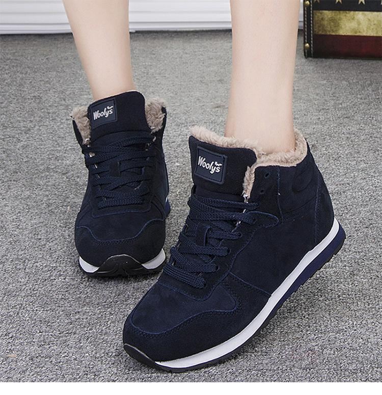 Warm Fur Ankle Boots for Women Winter Lace-up Black Boots - fashionshoeshouse