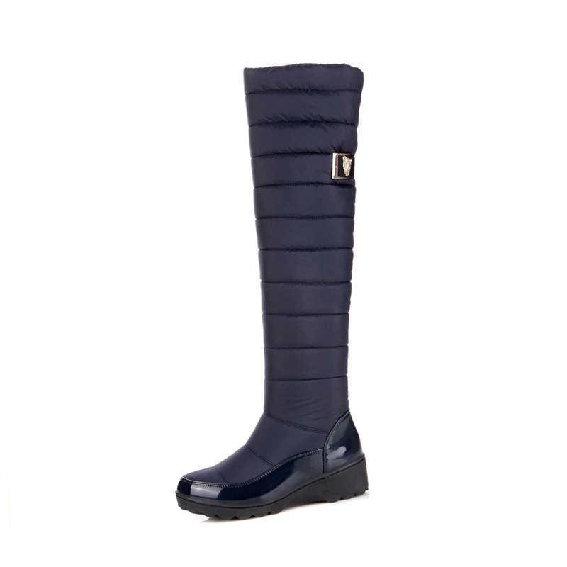 Waterproof Knee High Boots for Women Winter Faux Fur Shoes - fashionshoeshouse