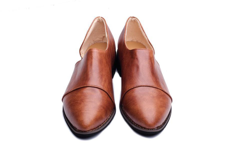 Vintage Leather Oxford Loafers for Women 2020 Fashion Women Casual Flat Shoes - fashionshoeshouse