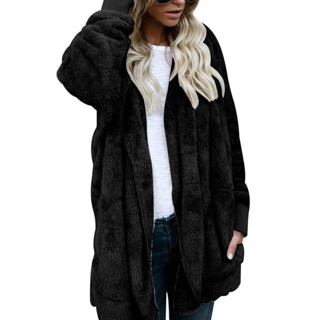 Hooded  Faux Fur Teddy Bear Coat - fashionshoeshouse