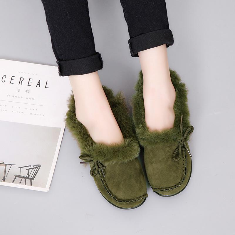 Warm Fur Winter Women Loafers Round Toe Flat Shoes - fashionshoeshouse