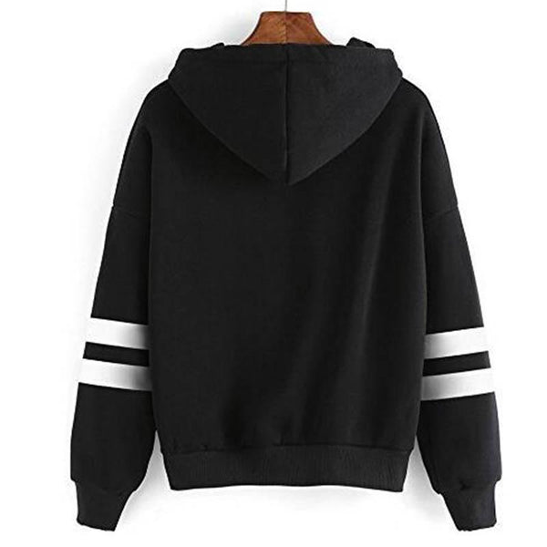 Drawstring Hooded Striped Sweatshirt - fashionshoeshouse