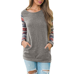 Women O-Neck Long Sleeve Sweatshirt Pullover Pocket Tops Blouse Shirt - fashionshoeshouse