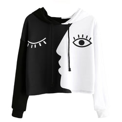 Women Ladies Sweatshirt Hooded Long Sleeve Crop Patchwork Blouse Pullover Tops - fashionshoeshouse
