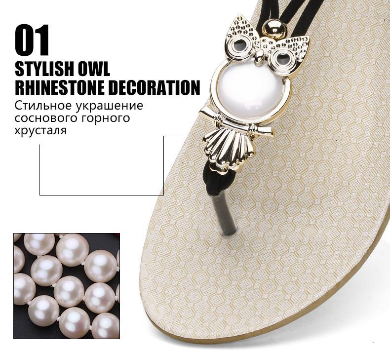 Elastic t-strap bohemia beaded owl sandals - fashionshoeshouse