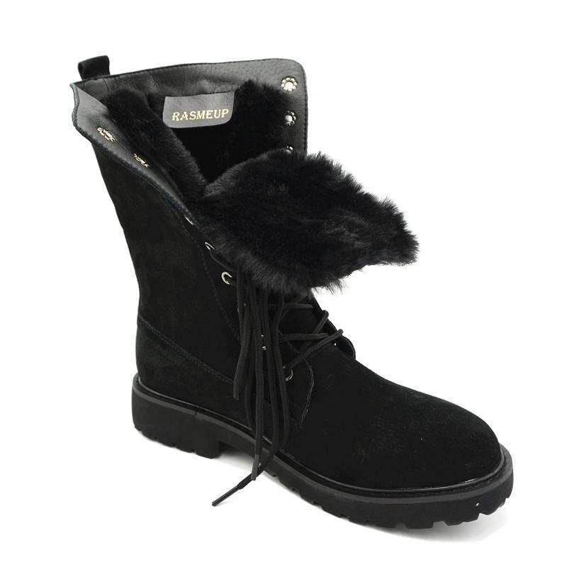 Lining Fur Lace-up Martin Boots Platform Western Boots - fashionshoeshouse