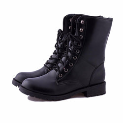 Lace Up Boots for Women Military Army Combat  Black Boots - fashionshoeshouse