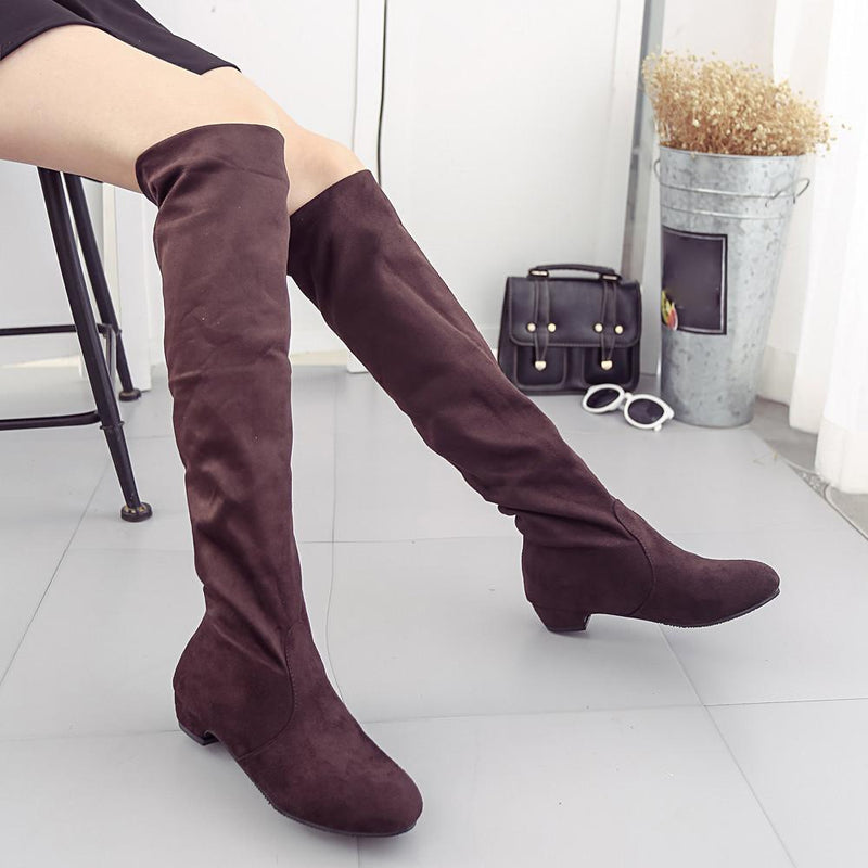 Women Winter Autumn Flat Boots Shoes High Leg Suede Short Long Boots - fashionshoeshouse