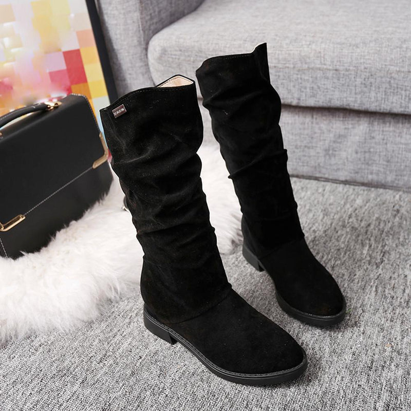 Autumn Winter Stylish Flat Flock Snow Boots - fashionshoeshouse