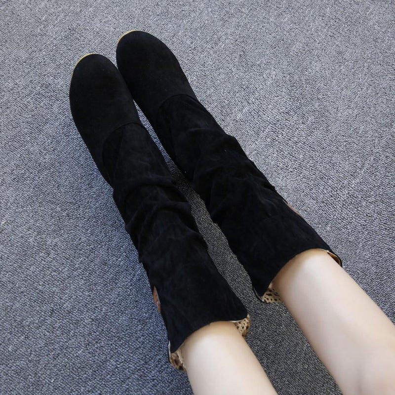 Mid Calf Boots for Women Flat Heel Winter Warm Shoes - fashionshoeshouse