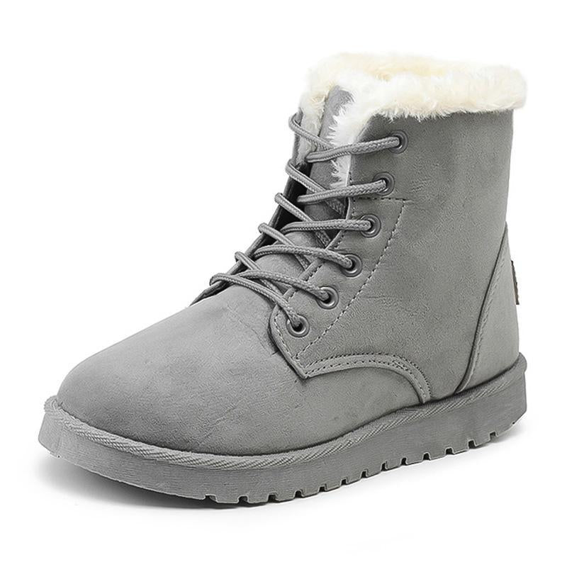 Women Winter Snow Boots Suede Ankle High Warm Fur Boots 5 Colors - fashionshoeshouse