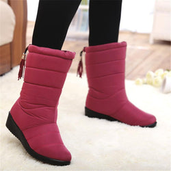 Waterproof Mid-Calf Boots for Women Warm Fur Shoes for Winter - fashionshoeshouse